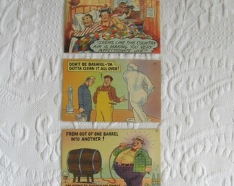 humorous postcards . 3 funny postcards . funny retro postcards . lot of 3 . retro postcards