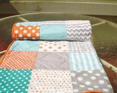 Handmade Baby quilt-baby girl bedding quilt,baby boy bedding,teal,grey,orange nursery,crib quilt,turquoise,chevrons,toddler,Fire,Sea, Mist