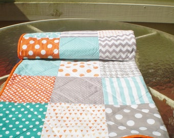 Baby quilt-baby girl bedding quilt,baby boy bedding,teal,grey,orange nursery,crib quilt,aqua,turquoise,chevrons,toddler,Fire,Sea and Mist