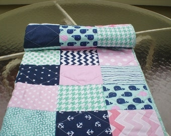 Handmade Baby Quilt, Nautical Baby Quilt, Baby Girl Bedding, Baby Girl Quilt,Baby blanket, Pink, Navy, mint,  Chevron,Toddler,Whale Toss