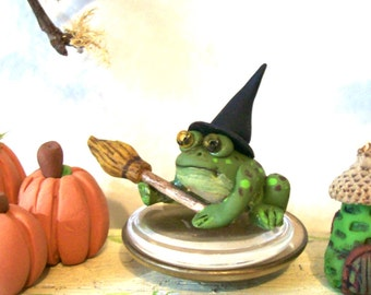 Wee Witchy Toad, Miniature Frog, Haunted Dollhouse, Artisan Handmade, Halloween Decor, 12th Scale, Artisan, Fantasy Creature, Garden Toad