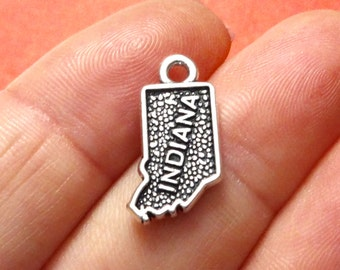 4, INDIANA US State Charm United States of America (double sided) 10x18mm ITEM:AW14