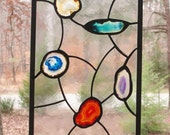 Stained Glass Panel - Clear Antique Textured Glass with Colored Agate Slices - Abstract