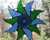 Stained Glass Suncatcher Panel - Pinwheel in Blue and Green with Steel Blue Rondel