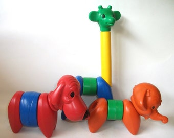 Vintage Tuppertoy Tupperware Zoo It Animals Toy Puzzle Dog Elephant Giraffe