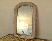 Framed Antique Mirror with Tan Gray Paint Oval Wooden Authentic Crackled