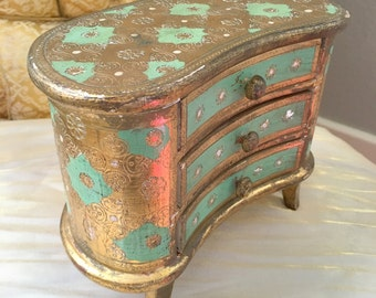 Italian Florentine Two Drawer Dresser Chest Gold and Aqua Teal Green