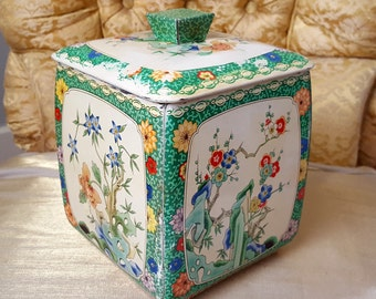 Tin Litho Metal Candy Box Shabby Cottage Style Made in Holland