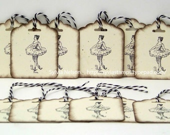 Dancing Ballerina Tags...set of 12 Tags...Antique distressed hang tags...gift tags...Christmas gift tags...Birthday tags...hand stamped!