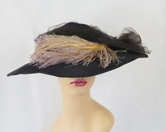 SALE Vintage Picture Hat Black Straw Wide Brim with Netting and Ostrich Feathers by Gage Bros Sz 21