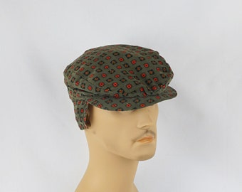 Vintage 1950s Mans Forest Green and Red Patterned Corduroy Flat Cap Sz 6 3/4