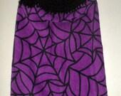 Halloween Hanging Towel - Spiderweb Towel - Crochet Top Towel - Purple Towel - Hanging Kitchen Towel - Dish Towel - Hand Towel - Plush Towel