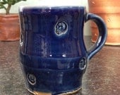 Skull Coffee Mug in Blue Glaze. 14 fl oz.