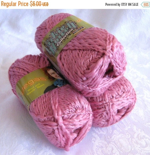 50% off - Rose Pink  silk wool blend yarn with metallic shimmer, SWTC Vegas, worsted weight