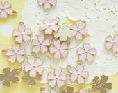 5 pcs Sakura Cherry Blossom  Charm (13mm) Pale Pink AZ219