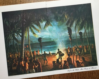 Hawaii Islands Vintage Original Frame Worthy Travel Illustrated Book Page