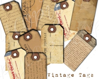 Instant Download  - Vintage Tags-   Digital Download - Printable  Digital Collage Sheet