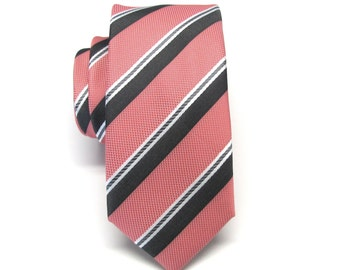 Men's Tie. Skinny Tie. Coral Gray White Stripes Skinny Necktie