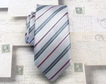 Mens Ties Gray and Pink Stripes Skinny Necktie