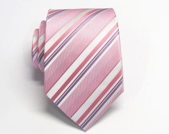 Coral Ties. Mens Ties Pink Lavender Ivory Stripes Necktie With Matching Pocket Square Option. Wedding ties.