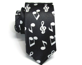 Necktie Black and White Music Notes Skinny Tie