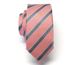 Mens Ties Skinny Tie. Coral Gray Stripes Skinny Necktie