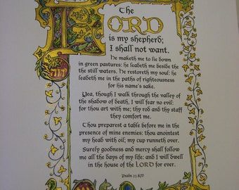 Psalm 23 - The LORD is My Shepherd (KJV) - Illuminated Calligraphy Mixed Media - Made to Order