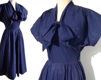 Vintage 50s Dress Rockabilly Navy Blue Summer Cotton by Sportlane Deb - XS