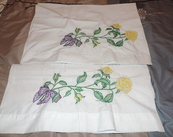 A Hand Embroidered Set of Standard Pillowcases-Yellow Roses
