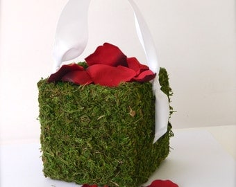 Flower Girl Baskets + Moss Flower Girl Basket with Ribbon Handle