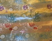 Gold Floral Medallions - Faux Silk Brocade Fabric - 1/4 Yard