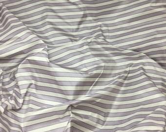 Lavender Purple & White Stripes Silk TAFFETA Fabric - 1 Yard