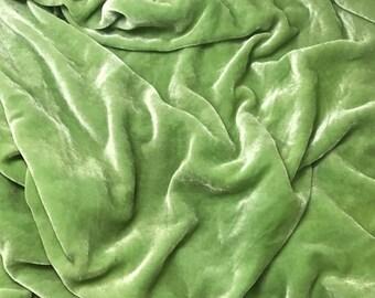 PEAR GREEN - Hand Dyed Silk Velvet 1 Yard