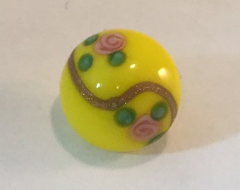 Vintage Glass  Button - Hand Painted Pink Roses on Yellow