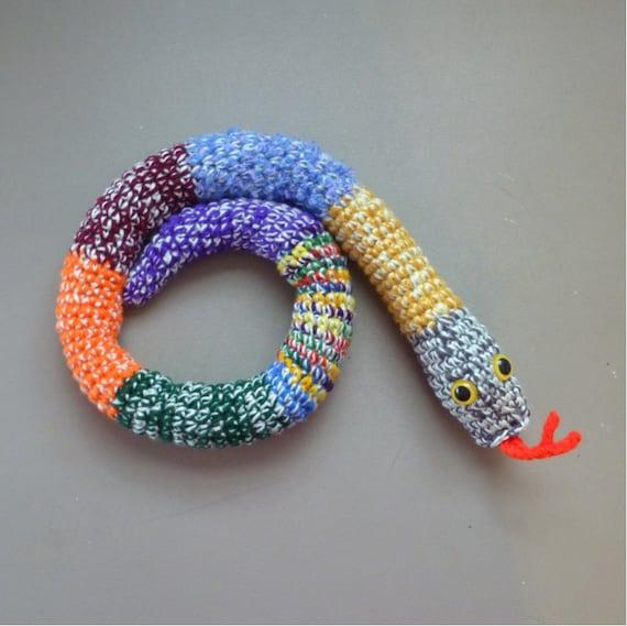 Door Draft Stopper Snake Mixed Colors Crochet Draft Dodger