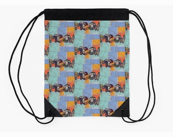 Cinch Backpack,Drawstring Bag,Boho Bag,Festival Bag,Cat Lovers Gift,Unique Back to School Supplies,Back to School Student Gifts,Carry All