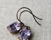 On SALE / CIJ Sale / Alexandrite Glass Vintage Swarovski Rhinestone Earrings / Pale Purple Pink /Antiqued Brass Estate Style Earrings / Vict