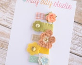 newborn baby girls bitty hair clips collection - neutral floral ribbon snap clips set, baby hair clips