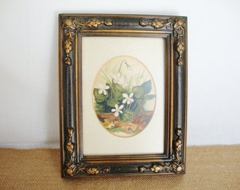 vintage watercolor art white wood violets signed painting dorothy rollert
