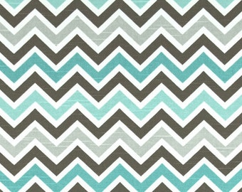 Chevron Fabric Premier Prints Fabric Zoom Spirit - Turquoise, Brown and Gray Fabric - White Background - One Yard - Clearance Fabric