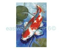 ORIGINAL watercolor Fish painting, koi painting, fish art, watercolor animals, original animal art