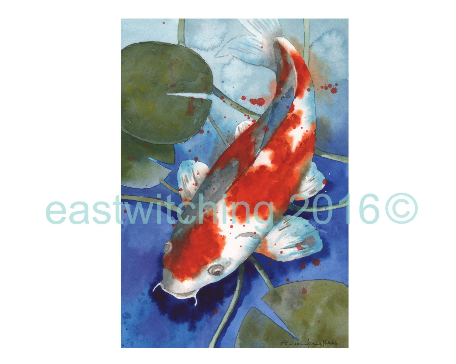 Original watercolor fish painting koi painting by eastwitching for Original koi fish