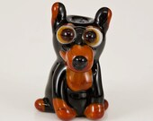 RESERVED for Dawn - Pointy Eared Doberman Lampwork Dog Bead
