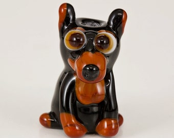 Pointy Eared Doberman Lampwork Dog Bead