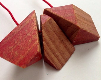 Fractal Necklace Recycled Wood Building Blocks by Mainichi