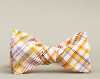 gold & lilac plaid bow tie  // self tie bow tie // bow ties for men  //  bow ties for women