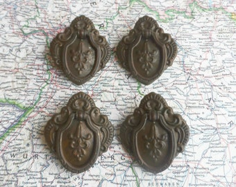 SALE! 4 ca. 1930's 1940's ornate distressed metal pull handles