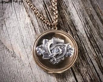 5X Good Luck Golden Locket // Antique Necklace