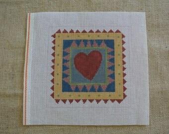 Needlepoint canvas -  Heart