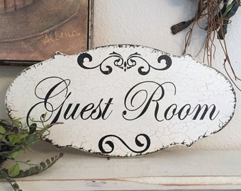GUEST ROOM, Guest Room Sign, Home Decor, Shabby Chic Style Signs | 14 x 7